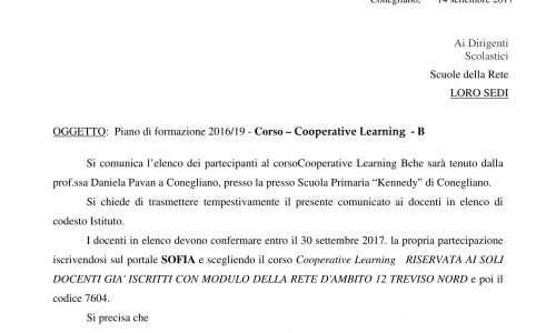 Formazione Piano di formazione 2016/19 – Corso Cooperative Learning – B
